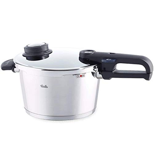 Fissler Schnellkochtopf vitavit premium |6 Liter |Ø 22 cm |2 Garstufen + Dampfgarfunktion | Edelstahl | induktionsgeeignet | Dampfkochtopf | Sicherheitsgriff