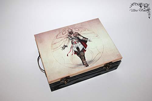 Assassin's creed Exklusive Teebox,Tee, Tea, Teebeutel,Teekiste, wood, Holzbox, schachteln, Holzkästchen, Handarbeit. (Halskette Call Of Duty)