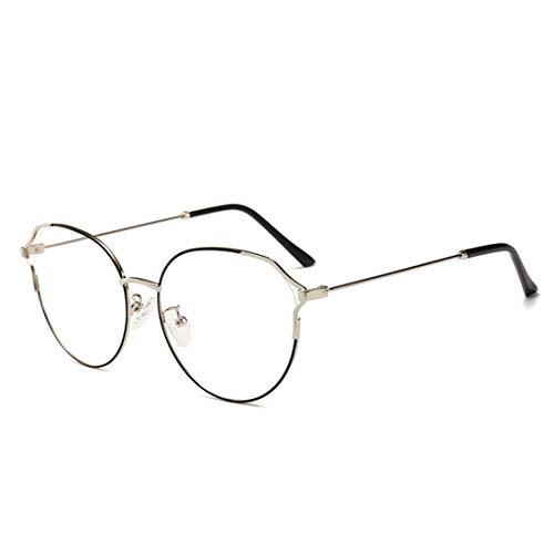 Jakiload Metall Retro Cat Eye Brillengestell Nicht verschreibungspflichtige Brille Männer Frauen (Color : Black-Silver)