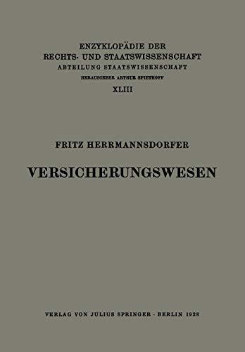 Versicherungswesen (Enzyklopädie der Rechts- und Staatswissenschaft)