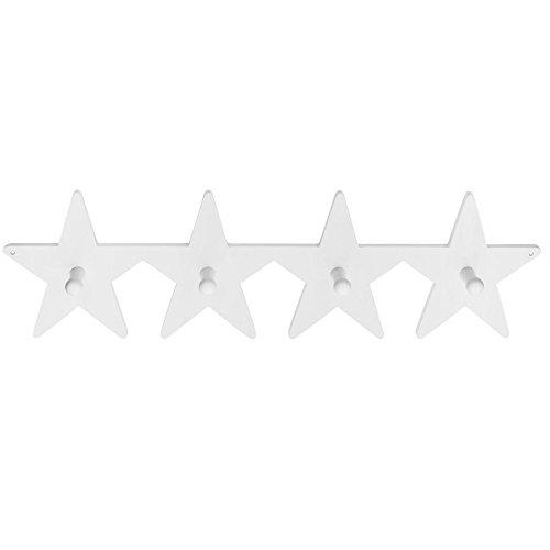 Kids Concept 120652 - Perchero de pared infantil (4 ganchos), diseño de estrellas, color blanco