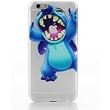Phone Kandy® Claro TPU Transparente Funda de silicona ultra fina y protector de la pantalla carcasa funda (iPhone 6 6s PLUS (5.5 pulgada), Stitch #3)