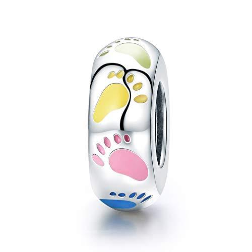 Charms Anhänger 925 Sterling Silber Bead Charm Kleine Füße Element für European Beads Modul Armband Damen Schmuck für Bettelarmband Halskette Fuse-modul