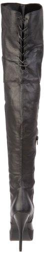 Devious by Pleaser Overknee High Heels Stiefel INDULGE-3011 Leder schwarz Schwarz (Blk Leather (P))