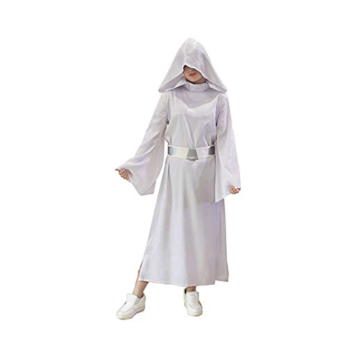 Kind Erwachsener Star Wars Princess Leia Cosplay Kostüm Superhelden Halloween Mottoparty Karneval Uniform Overall+Gürtel+ Hut,Man-M