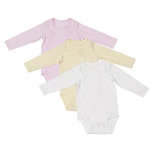 Baby Erstausstattung | 3er Set Baby-Body langarm Jungen & Mädchen | 100% GOTS-zertifizierte Bio-Baumwolle: Ideal für empfindliche Neugeborenen-Haut | Fair-Trade, Set für Mädchen, Größe: 50