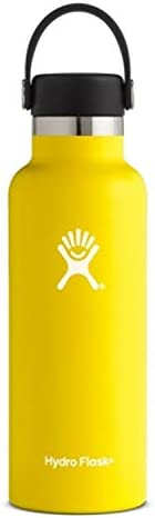 Sports Water Bottle, Double Wall Vacuum Insulated Stainless Steel Leak Proof, Standard Mouth with BPA Free Flex Cap (Yellow)