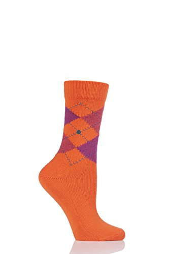Damen 1 Paar Burlington Whitby extraweiche Argyle Socken (36-41, Orange) (Damen-diamant-muster-socken)