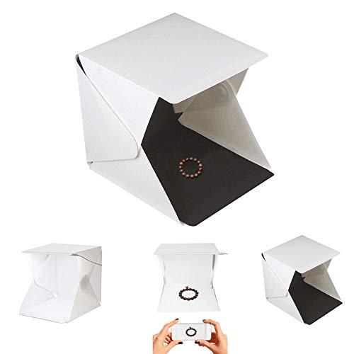 Weiße tragbare Faltbare Lightbox Fotografie LED-Lichtraum Fotostudio Lichtzelt Softbox-Kulissen für Digitale DSLR-Kamera (Kamera, Kulisse Kit)