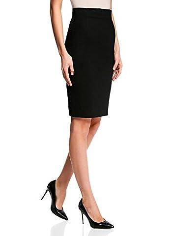 oodji Collection Femme Jupe Coupe Droite Taille Haute, Noir, FR 44 / XL