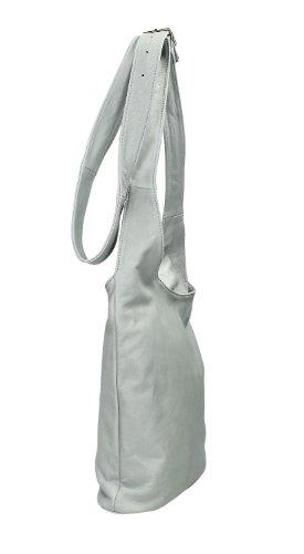Ital. Croce borsa a tracolla per donna in nappa con scelta di colori 24,5x 28x 8,5cm (W x H x D) - light gray