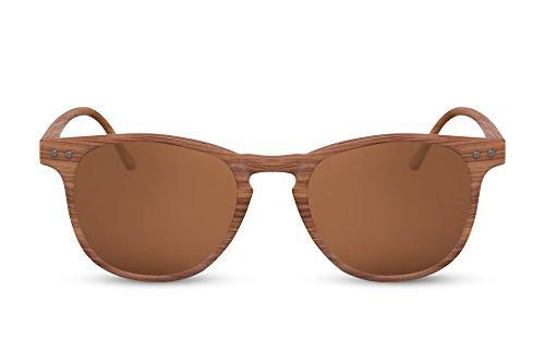Cheapass Sonnenbrille Rund Braun Holz-Optik UV-400 Designer-Brille Festival-Accessoire Plastik Damen Herren