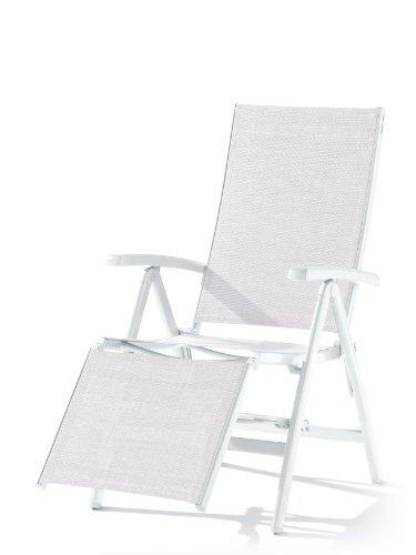 Sieger 985/W-W Relaxliege Bodega, Aluminium, Vollkunststoff, Textilux, weiß