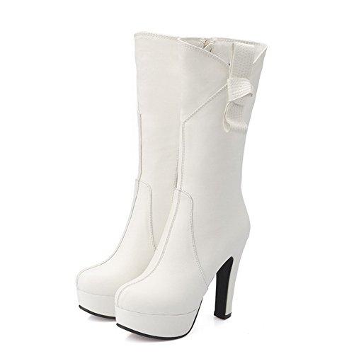 VogueZone009 Damen Reißverschluss Hoher Absatz Pu Leder Rein Mitte-Spitze Stiefel Weiß