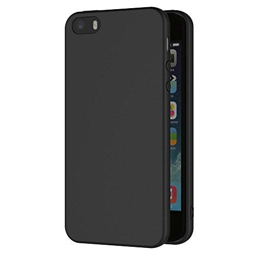 iPhone SE, 5S, 5 Hülle Schwarz Backcover Silikon Schutzhülle im Basic Design Cover aus TPU Rückschale Schwarz