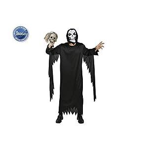 Atosa-95240 Disfraz Esqueleto, Color negro, M-L (8.42226E+12)