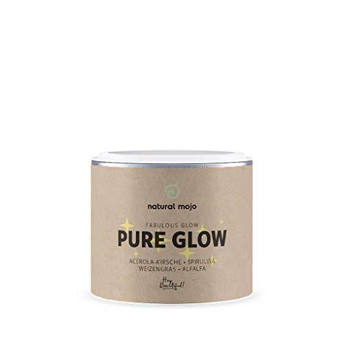 Natural Mojo Pure Glow – 60 Antioxidantien Kapseln – Nahrungsergänzungsmittel für schöne Haut – mit Spirulina und Weizengras – neutral