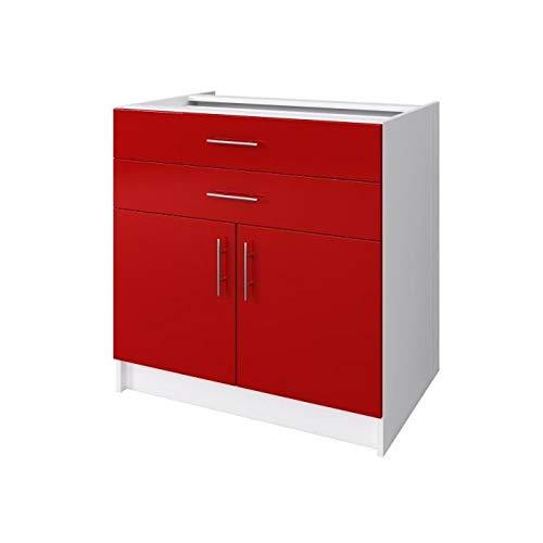 Générique OBI Caisson Bas de Cuisine avec 2 Portes, 2 tiroirs L 80 cm - Blanc et Rouge laqué Brillant