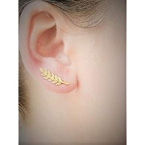 ✿ VERGOLDETER CLIMBER OHRKLEMME BLATT STECKER ✿ vergoldete Ohrringe, Blatt, Stecker