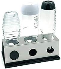 3er Abtropfhalter aus Edelstahl für z.B. Sodastream Crystal/Source / Easy/Cool Flaschen Flaschenhalter wählbar mit Abtropfmatte Abtropfschale