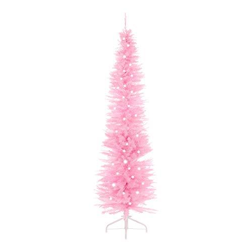 The Christmas Workshop Weihnachtsbaum, beleuchtet, 110 weiße LEDs, 560 Lichter an Zweigspitzen, 183cm, Pink -