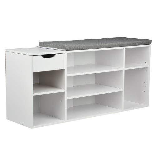 Limal Schuhbank, Holz, Weiß, 29,5 x 101 x 45 cm