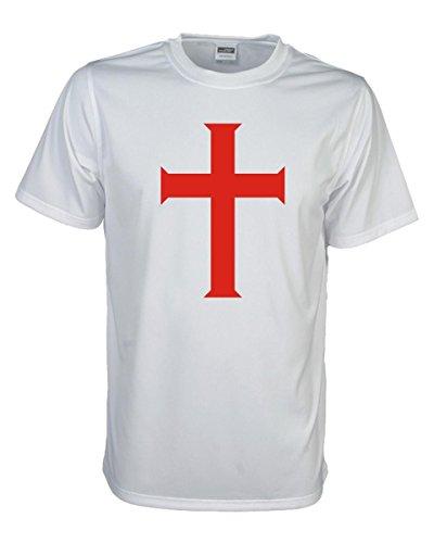 Kreuz der Tempelritter, edel bedrucktes T-Shirt mit religiösem christlichen Motiv oder Spruch tolles Geschenk große Größen Funshirt (FSJ016) M (T-shirt Große Christliche)