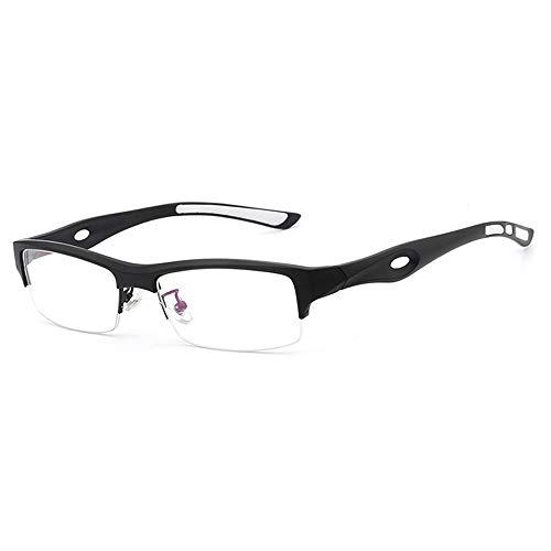 Men Half Frame Nearsight Brillengestell Ultraleichter TR90 Optischer Sportbrillenrahmen für Brille (Color : Schwarz, Size : Kostenlos)