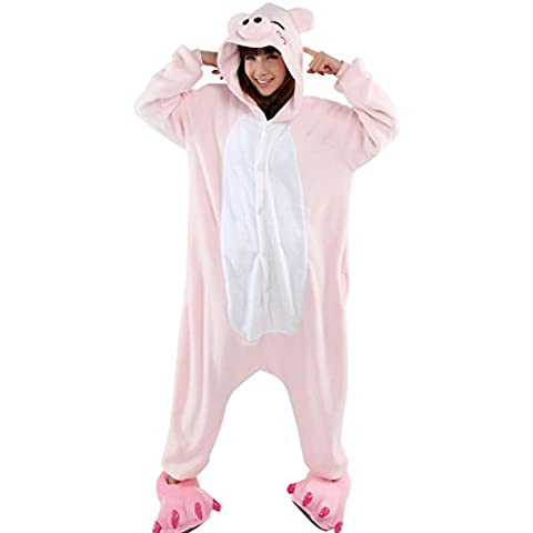 Moollyfox Kigurumi Pijamas Unisexo Adulto Traje Disfraz Adulto Animal Pyjamas Pink Pig S