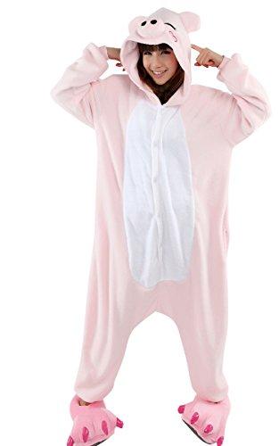 MOOLLYFOX KIGURUMI PIJAMAS UNISEXO ADULTO TRAJE DISFRAZ ADULTO ANIMAL PYJAMAS PINK PIG M