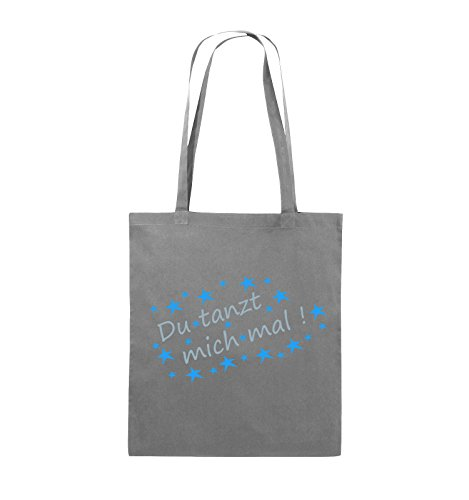 Comedy Bags - Du tanzt mich mal! - STERNE - Jutebeutel - lange Henkel - 38x42cm - Farbe: Schwarz / Weiss-Neongrün Dunkelgrau / Eisblau-Blau