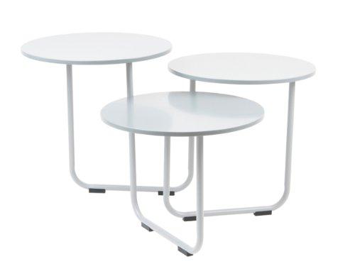 Couchtisch Beistelltisch Weiß Design Drehbar Schwenkbar 3 Platten Modern Leitmotiv