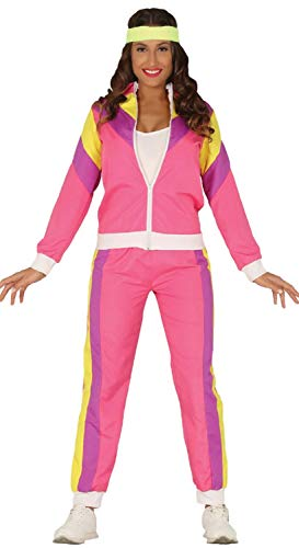 Ladies Pink Colourful 80s Tracksuit Shellsuit, Sizes 10 to 16