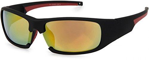 styleBREAKER Sport Sonnenbrille verspiegelt oder getönt, Vollrand Sportbrille mit weichen Nasenbügeln, Unisex 09020047, Farbe:Gestell Schwarz-Rot/Glas Orange-Rot verspiegelt