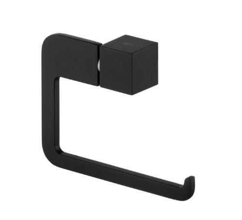 Gedotec Design Wand-Toilettenpapierhalter schwarz Klopapierhalter Edelstahl zum Kleben - B063 | Klopapier-Rollenhalter für die Wandmontage | 1 Stück - Papierhalter selbstklebend oder zum Schrauben