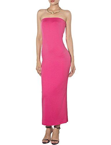 iB-iP Femme Épaule Nue Tube Stretch Slim Fit Bodycon Maxi Robe Sans Bretelles Hot Pink