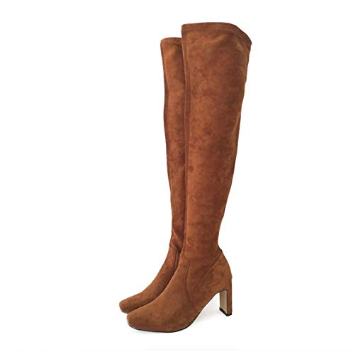 (Frauen über die Knie hoch gereinigte Sole Faux Suede Boots Chunky Platform Boots Fitted Stretchy Sexy Boots,Brown,37EU)