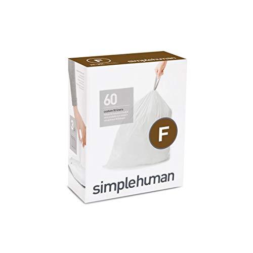 simplehuman passgenaue Müllbeutel Nachfüllpack Code F, 3 x Pack mit 20 (60 Beutel), Plastik, Weiß, 0.02 x 53.5 x 51 cm