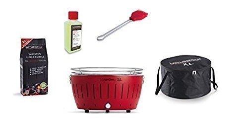 Lotus Barbecue XL Kit de démarrage 1x Lotus XL Feu Rouge 1x Hêtre Charbon de bois 1kg, 1x Pâte combustible 200ml, 1x Pinceau Feu Rouge, 1x XL Sacoche de transport de transport