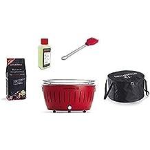 LotusGrill XL Starter Juego de 1 x lotusgrill XL Fuego Rojo 1 x haya Carbón vegetal 1 kg, 1 x quemar 200 ml, 1 x Marini Pincel Fuego Rojo, ...