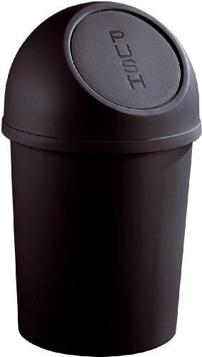 helit Poubelle a clapet Push, 13 litres, noir, rond, en PP diametre: 252 mm, hauteur: 490 mm couvercle amovible (H2401195)