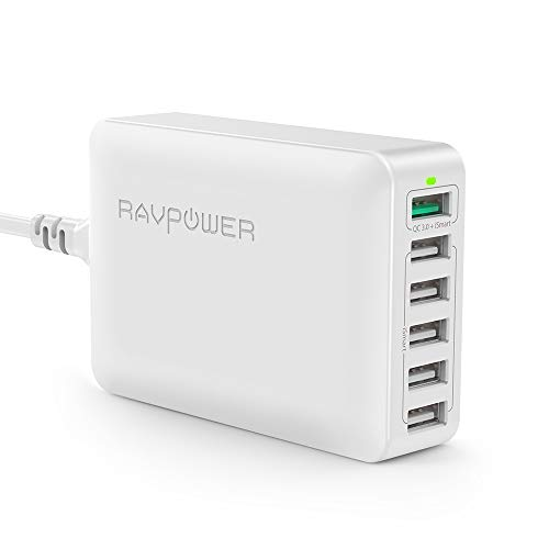 RAVPower Quick Charge 3.0 USB Ladegerät 6-Port 60W Ladeadapter, Mehrfach USB Ladestation für iPhone X XS XR XS Max 8 7 6 Plus, iPad Pro Air Mini, Galaxy S9 S8 Plus, LG, Huawei, Powerbank, MP3 Weiß -