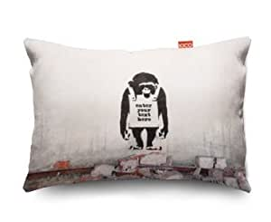 banksy chimp custom personalised sofa cushion coussin 28x23cm small cuisine maison. Black Bedroom Furniture Sets. Home Design Ideas