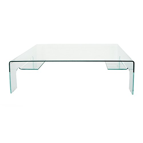 designement Table Basse Verre Transparent 125 x 74 x 43 cm