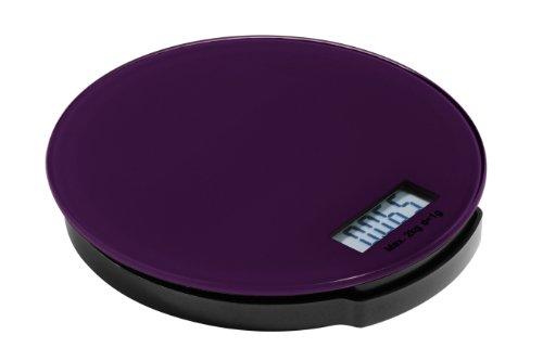 Premier Housewares Zing Elektronische Küchenwaage aus Glas, rund, 2 kg, 3 x 16 x 16 cm, lila