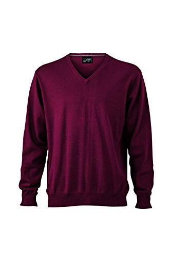 James & Nicholson Herren V-Neck Pullover Rot (Bordeaux)