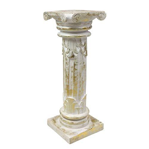 Oriental Galerie Antike Dekosäule Säule Blumensäule Ständer Sockel Podest Holz Weiß Goldwash 60 cm (Weißes Podest, Beistelltisch)