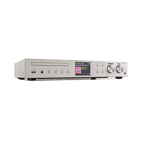 auna iTuner CD HiFi-Receiver • Internet-Radio • FM Radio • DAB+ • CD-Player • viele Anschlüsse • WiFi • Spotify Connect • UNDOK-App • USB • TFT-Farbdisplay • inkl. Infrarot-Fernbedienung • Silber