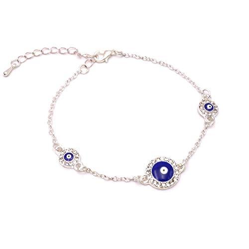 BENAVA Damen Armband Nazar BONCUK - Freundschaftsarmband Türkisches Auge 15-20 cm Farbe Silber -
