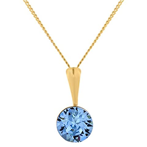 Yellow Gold-Plated 925 Sterling Silver Blue Aquamarine Crystal Jewellery Pendant Necklace With Swarovski Crystals For Women And Girls - Luxurious Mothers And Anniversary Gifts For Heruxurious Mothers